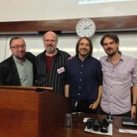 "With German musicologists at a presentation of ""Music of the Rolling Stones"""