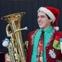 """BME Sophomore Brad Scherden won """"best decorated person"""" at the 2014 """"Tuba Christmas"""""""