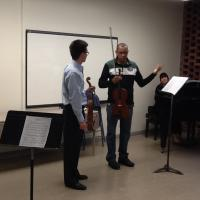 Violist Curtis Rainey participates in a master class with Carlos Aleixo,professor of viola at the Federal University of Minas Gerias in Brazil; September 19, 2013