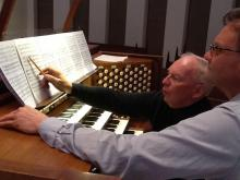 Organist William Neil with MM conducting student David Hood