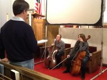 Rob Nairn chats with members of Baroque Ensemble before rehearsal