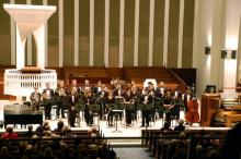 Members of the Symphonic Wind Ensemble in performance