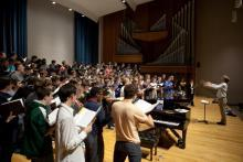 Men of Song on Esber Recital Hall stage - side view