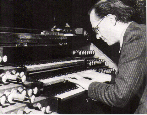 Olivier Messiaen at the organ