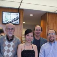 Joanne Yang with the piano faculty members Steven Smith, Timothy Shafer, Christopher Guzman