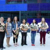 Members of the horn studio performed at the International Horn Symposium (London, UK) in summer 2014. Pictured (l-r) are alumna Jaime Thorne, Professor Bontrager, Ellen VanDine, Victoria Avanzato, Sarah Frey, and Caitlyn McGaugh