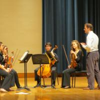 String quartet coaching with member of the Brentano String Quartet
