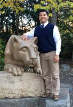 Will Broaddus at nittany lion statue