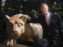 Eric Hahn with the Nittany Lion